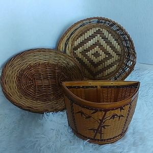 3 Vintage Wicker Rattan Bohemian Boho Baskets